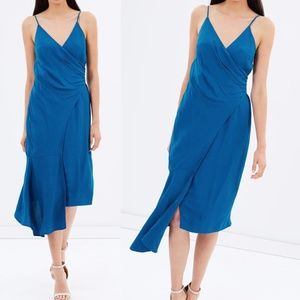 NWT Keepsake Marine Wrap Asymmetric Midi Dress